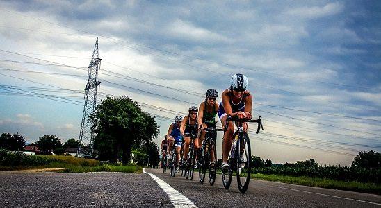cycling in a triathlon