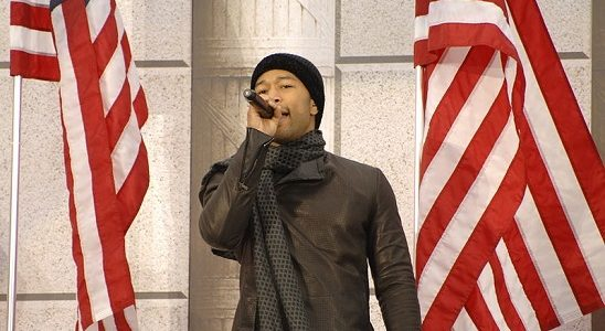 John Legend at the Lincoln Memorial